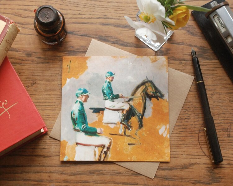 Note Card  - Study Of A Jockey Wearing Green