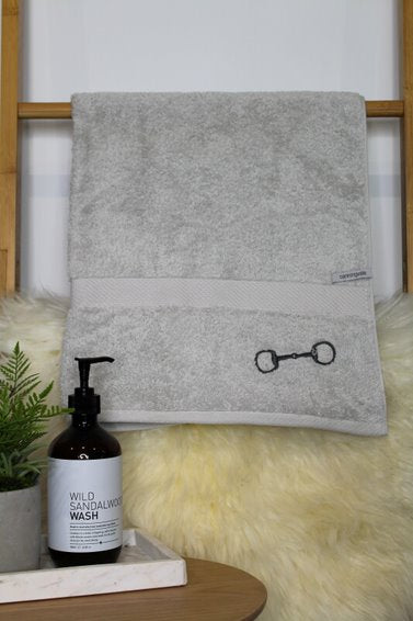 Royal Ascot Towels - Snaffle Bit Design -Silver with Charcoal Bit