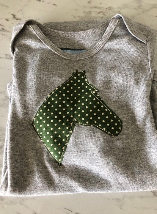 Grey / Green with Spots Infant Body Suit