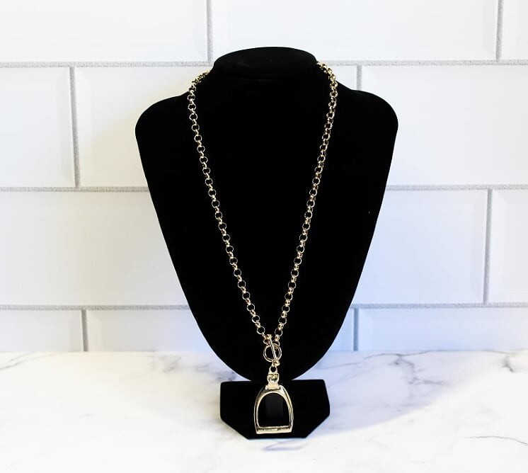 Large Gold Stirrup Necklace