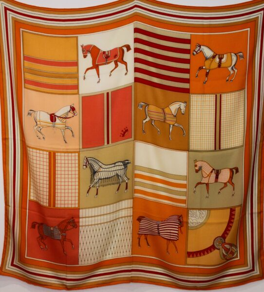 Horses in Squares  Scarf  Orange