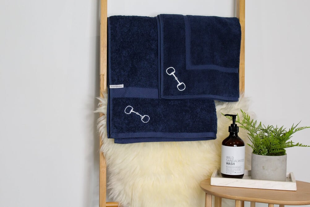 Navy Snaffle Bit Bath Towel
