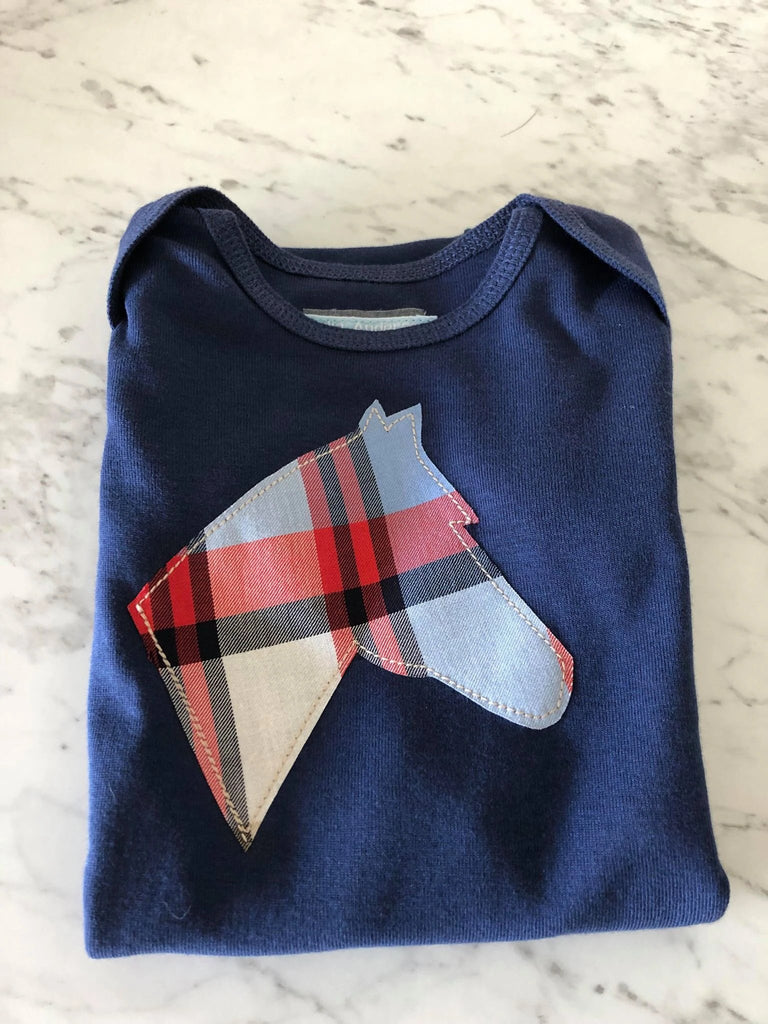 Navy/ Blue Plaid  Infant Body Suit