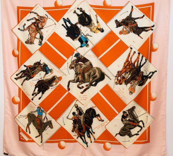 Polo Themed Silk Scarf  Orange