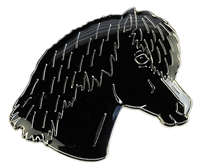 Black Pony Head Lapel Pin