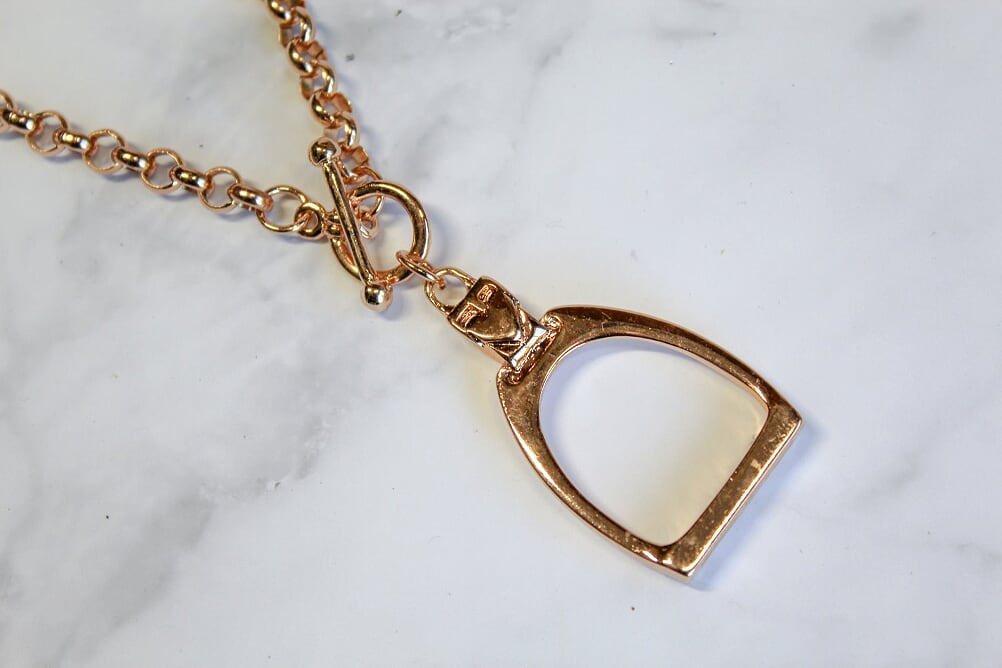 Large Rose Gold Stirrup Necklace