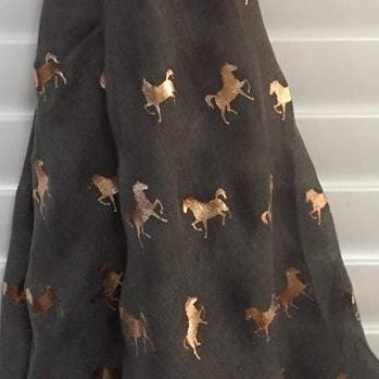 Charcoal  with Rose Gold Horses Scarf