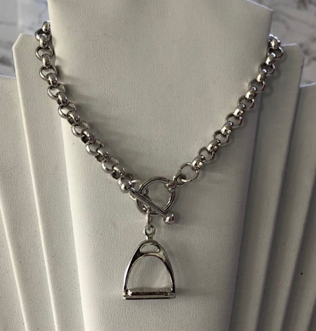 Silver Stirrup on a Belcher Chain