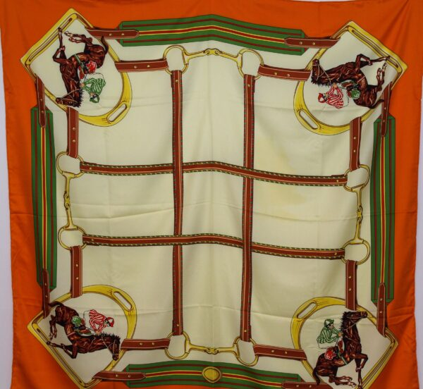 Race Horse Themed Silk Scarf Citrus