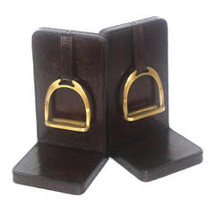 Leather Stirrup Bookends Large