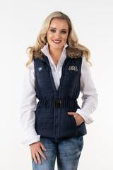 Navy Vest with Faux Fur