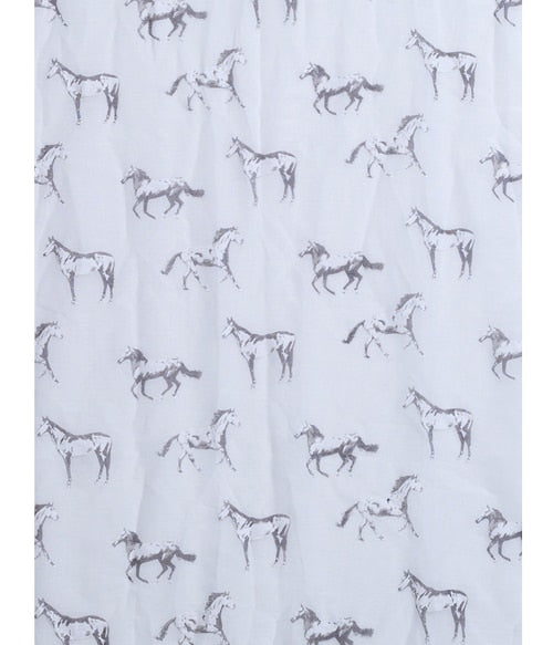 White with White Horses Scarf