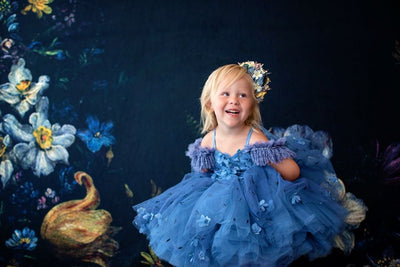 Charlee ballerina length gown- shades of blue  (2 year- petite 4 year)
