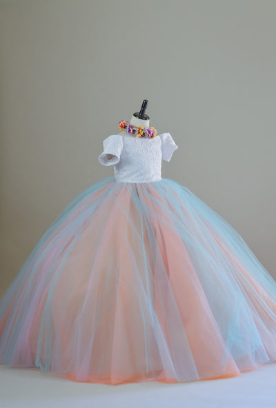 """CHARLOTTE"" Rainbow Tulle gown-  Flower Girl Dress,  Special Occasion Dress"