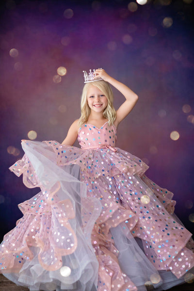 Confetti -Shades of Silver and Pink Gown (6 Year - Petite 12 Year)