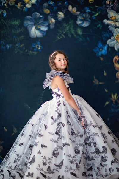 """Butterfly Song""- black/white Floor long Length Dress ( 6 Year - Petite 12 Year) - ."