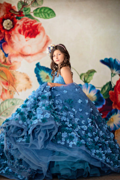 Charlee- Floor long - shades of blue-  floral gown- Gorgeous special occasion or photo shoot dress (6 Year-Petite 12 Year)