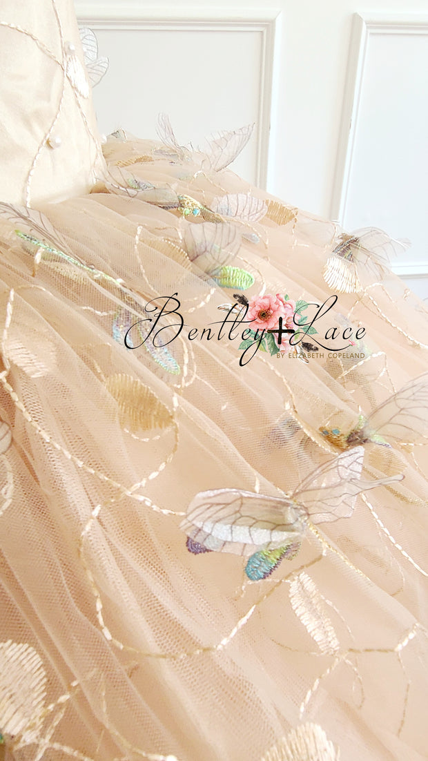 """Dragonfly Sonnet"" - Floor long Length Dress ( 6 Year - Petite 10 Year)"