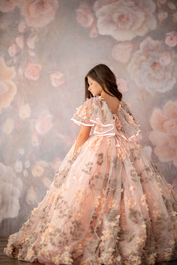 "Lennon - ""Hemmingway Peachy Silver""- Floor long Length Dress ( 6 Year - Petite 9 Year)"