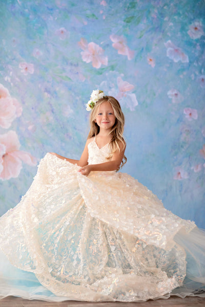 """Floral Jubilee"" Ivory -  Floor long Length Dress - ( 6 Year - Petite 9 Year)"