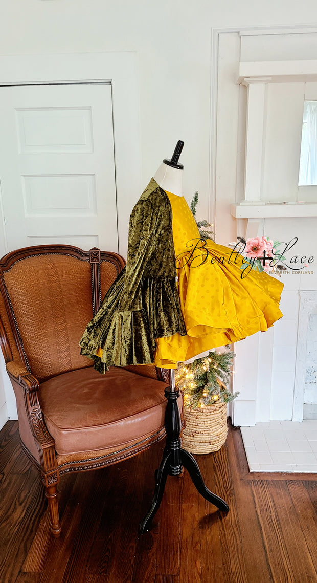 """Beth""  -Yellow jewel- Vintage Short Length Dress ( 5 Year - Petite 7 Year)"