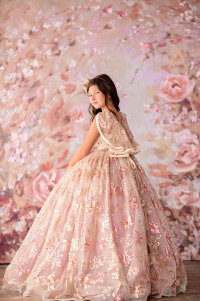 """Butterfly Dreaming"" - Sequin Floor long Length Dress ( 6 Year - Petite 9 Year)"
