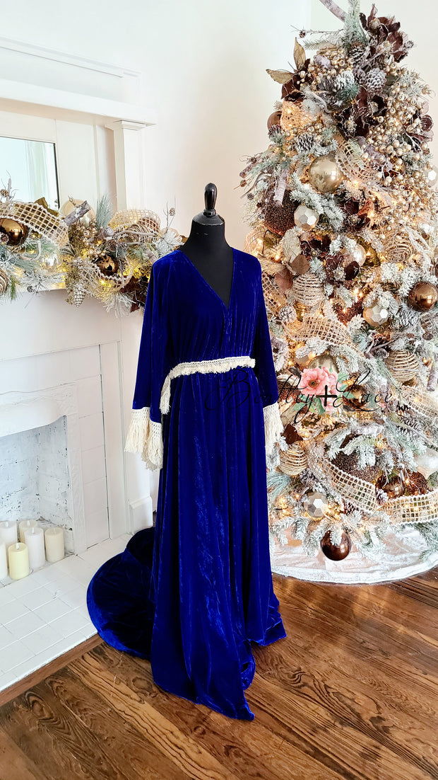 """Delores"" - Royal Blue- Beautiful velvet boho inspired gown - (TEEN-ADULT)"