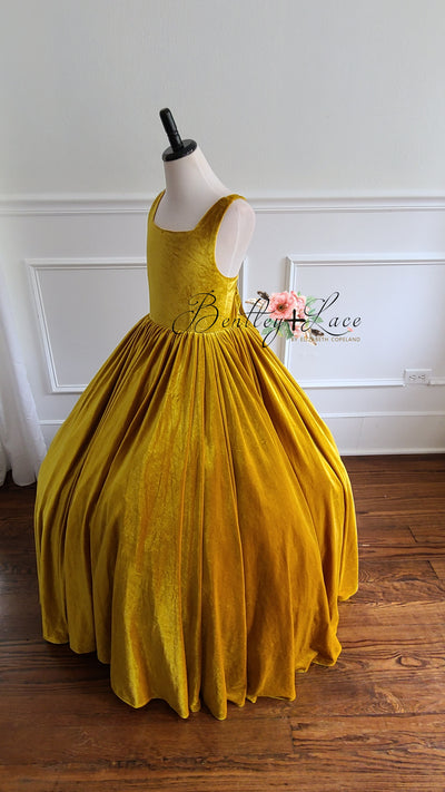Penelope Velvet gown -Mustard Yellow- Tie back (6 Year - Petite 9 Year)