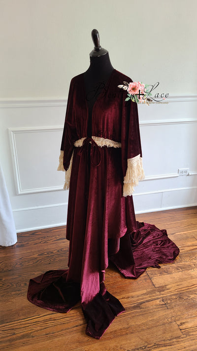 """Delores"" - Deep Plum Beautiful velvet boho inspired Robe - (TEEN-ADULT)"