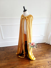 Gwendolyn Velvet Hooded Cape- Yellow Gold