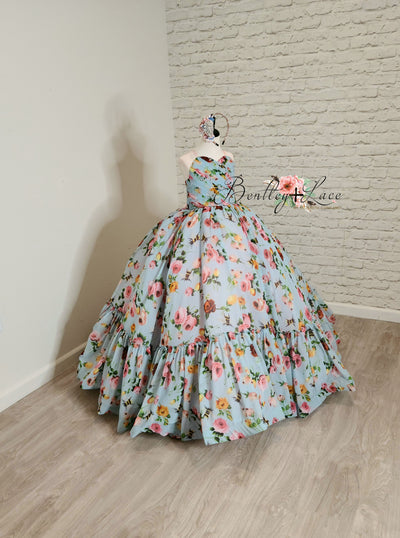 """Margot"" -  Floor Length Floral Chiffon Gown ( 6 Year - Petite 7 Year)"