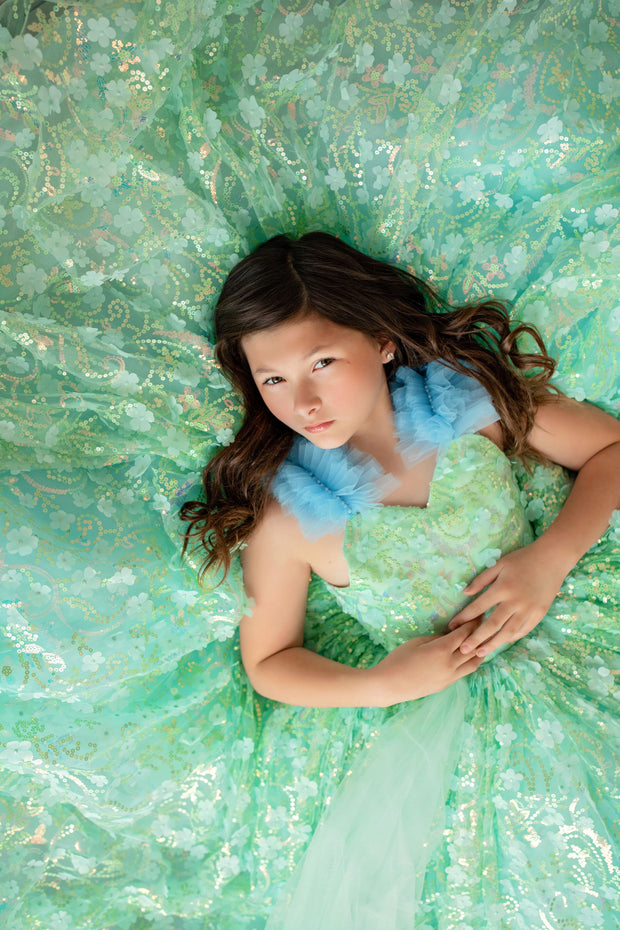 """Mermaid Dreams"" -  Floor Length Floral Gown ( 6 Year - Petite 8 Year)"