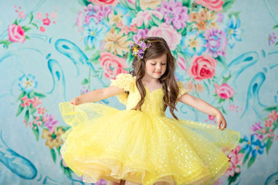 Petal Yellow Confetti- Short Length Dress (3 Year-Petite 6 Year)