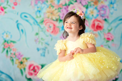 Petal Yellow Confetti- Short Length Dress (2 Year-Petite 5 Year)