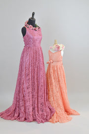 "LORELEI -  in ""Coral"" Lace Dress (4 YEAR-PETITE 12 YEAR) some wear and tear-nothing major"
