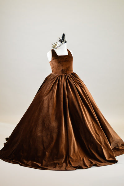 Penelope Velvet gown -Copper Brown- Tie back (6 Year - Petite 11 Year)