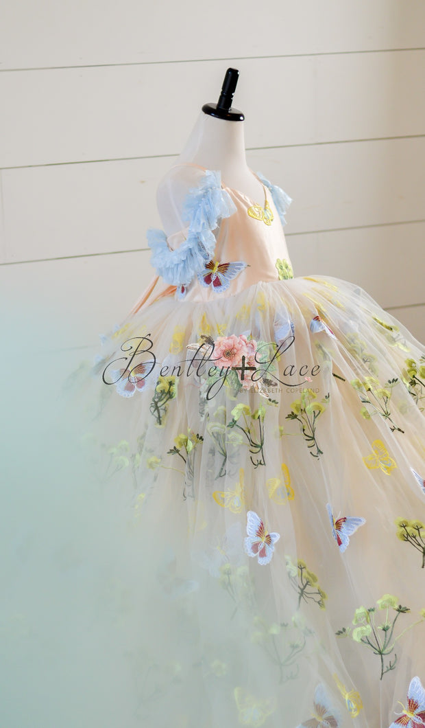"""Butterfly Serenades""- Floor long Length Dress ( 6 Year - Petite 12 Year)"