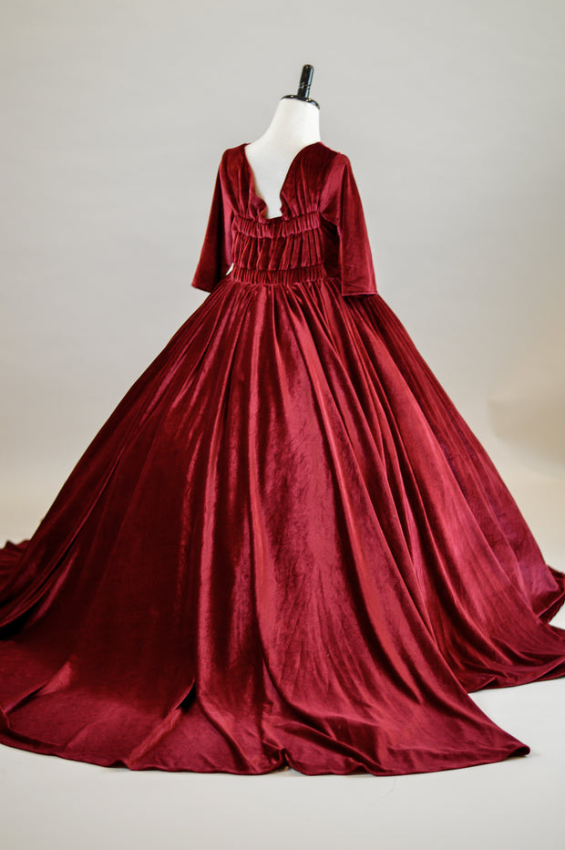 Penelope Velvet gown - Ruby with Sleeves  (6 Year - Petite 11 Year) NEW CONDITION