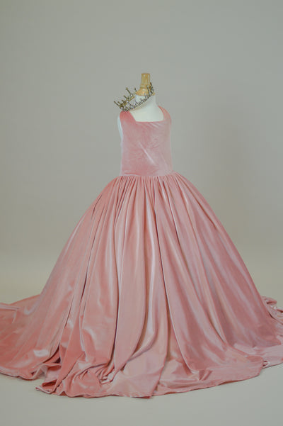 Penelope Velvet gown - Blush Tie back (6 Year - Petite 11 Year) NEW CONDITION