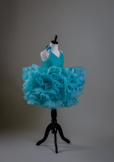 PETAL IN AQUA BLUE- SHORT LENGTH DRESS