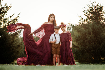 "LORELEI -  Off shoulder in ""Wine"" Lace Dress (Teen-Adult)  Maternity/Non Maternity"