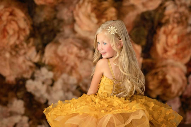 "Petal ""Flutter Mustard""- Short Length Dress (5 Year - Petite 8 Year)"