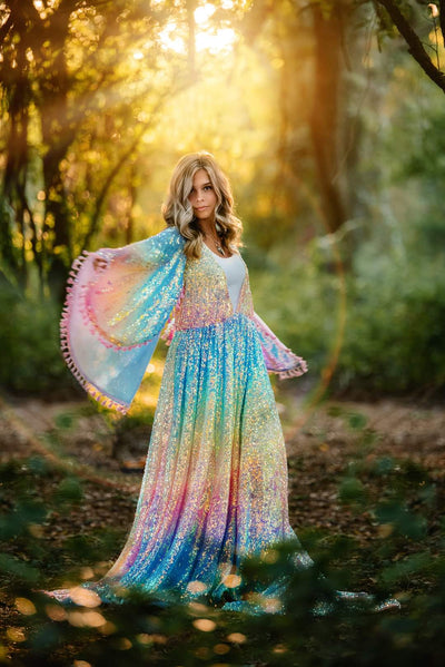 Rainbow Disco-Beautiful boho inspired gown - (TEEN-ADULT) -Maternity friendly.