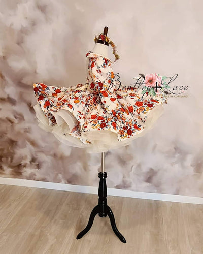 """Frilly Floral"" -   Sleeve Petal Length Dress  - ( 4 Year - Petite 5 Year)"