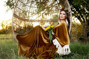 """Delores"" - Mustard- Beautiful velvet boho inspired gown - (TEEN-ADULT)"