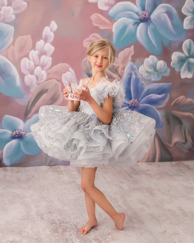 Twinkle Toes- Silver Dreams- Petal Length Gown ( 5 Year - Petite 7 Year)