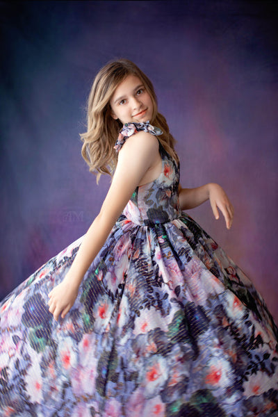 Kaylee Floral Chiffon Gown-(8 Year-Petite 13 Year)