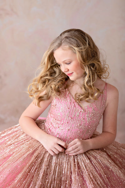 Stassi- Rose Gold and Rose pink gown- Gorgeous special occasion or photo shoot dress (6 Year-Petite 12 Year)