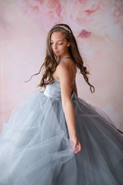 Laurel Tulle gown- Silver (6 Year - Petite 10 Year) READY TO SHIP NEW