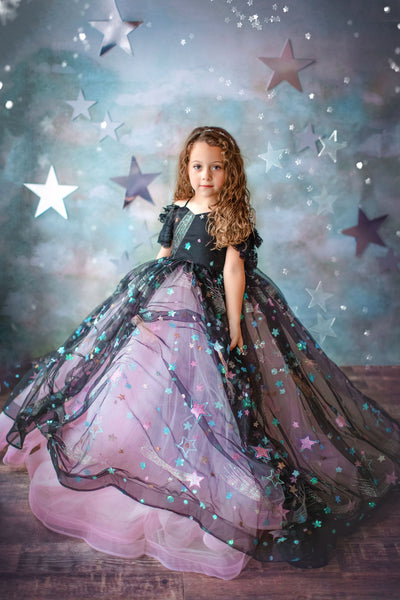 ALL THAT SHIMMERS- Pink+Black GORGEOUS SPECIAL OCCASION OR PHOTO SHOOT DRESS (5 YEAR-PETITE 10 YEAR)